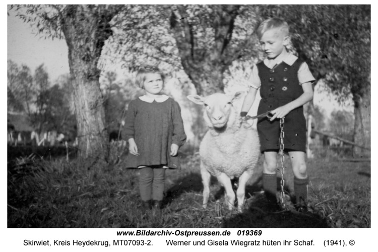 Skirwiet, Werner und Gisela Wiegratz hüten ihr Schaf