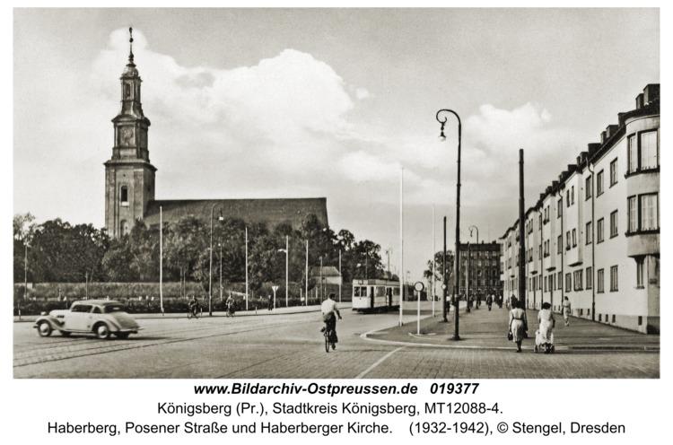 Königsberg, Haberberg, Posener Straße und Haberberger Kirche