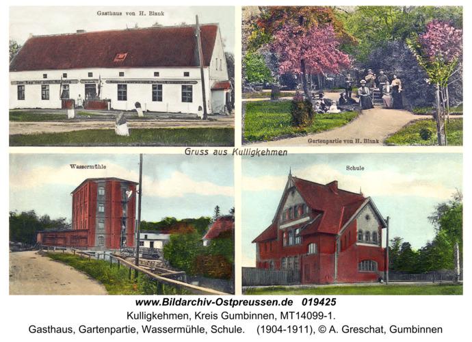 Ohldorf (Ostpr.) fr. Kulligkehmen, Gasthaus, Gartenpartie, Wassermühle, Schule