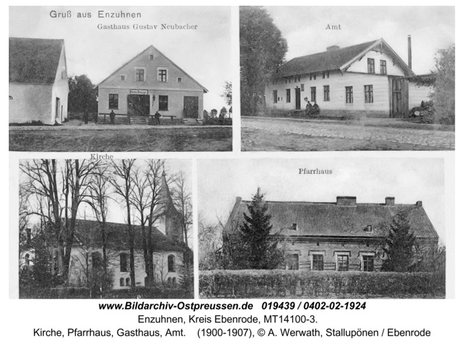 Rodebach fr. Enzuhnen, Kirche, Pfarrhaus, Gasthaus, Amt