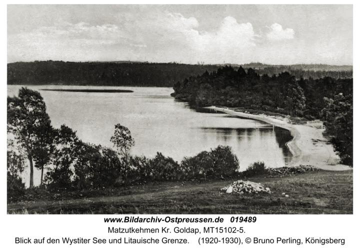 Matzutkehmen Kr. Goldap, Blick auf den Wystiter See und Litauische Grenze
