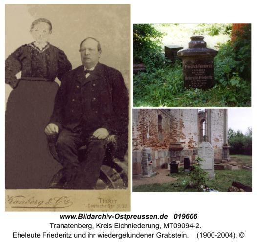 Tranatenberg, Eheleute Friederitz und ihr wiedergefundener Grabstein