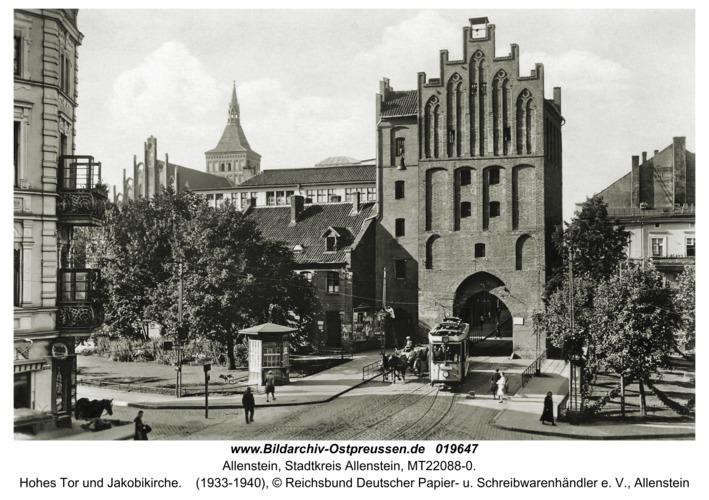 Allenstein, Hohes Tor und Jakobikirche