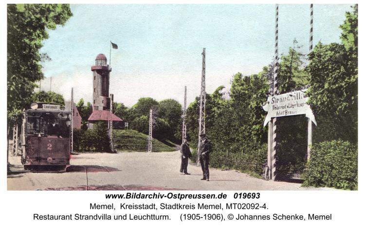 Memel, Restaurant Strandvilla und Leuchtturm