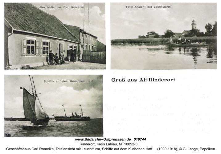 Alt Rinderort, Geschäftshaus Carl Romeike, Totalansicht mit Leuchtturm, Schiffe auf dem Kurischen Haff