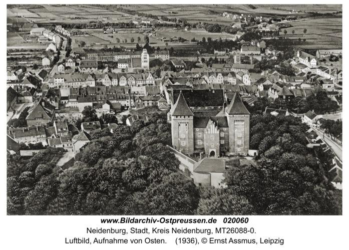 Neidenburg, Luftbild, Aufnahme von Osten
