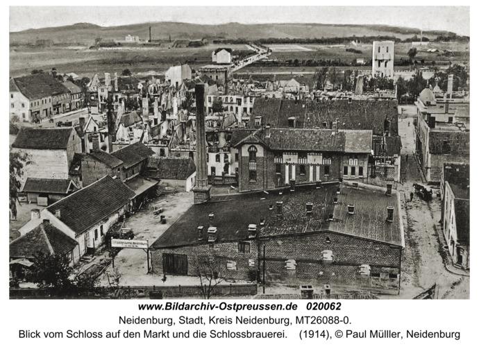 Neidenburg, Blick vom Schloss auf den Markt und die Schlossbrauerei