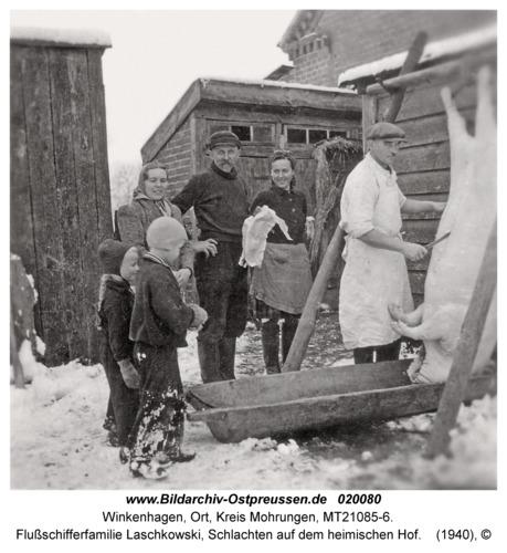 Winkenhagen, Flußschifferfamilie Laschkowski, Schlachten auf dem heimischen Hof