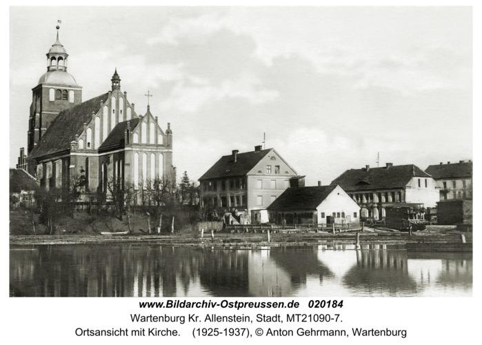 Wartenburg i. Ostpr., Ortsansicht mit Kirche