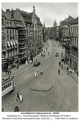 Königsberg, Steindamm, links Ecke Hohenzollernstr., rechts Ecke Kniprodestr.