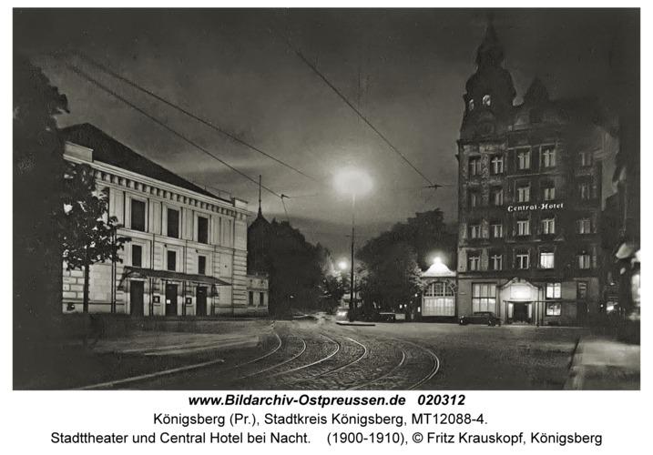 Königsberg, Stadttheater und Central Hotel bei Nacht