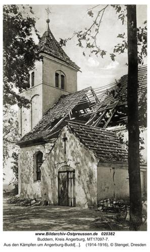 Buddern, Aus den Kämpfen um Angerburg-Buddern, zerstörte Kirche