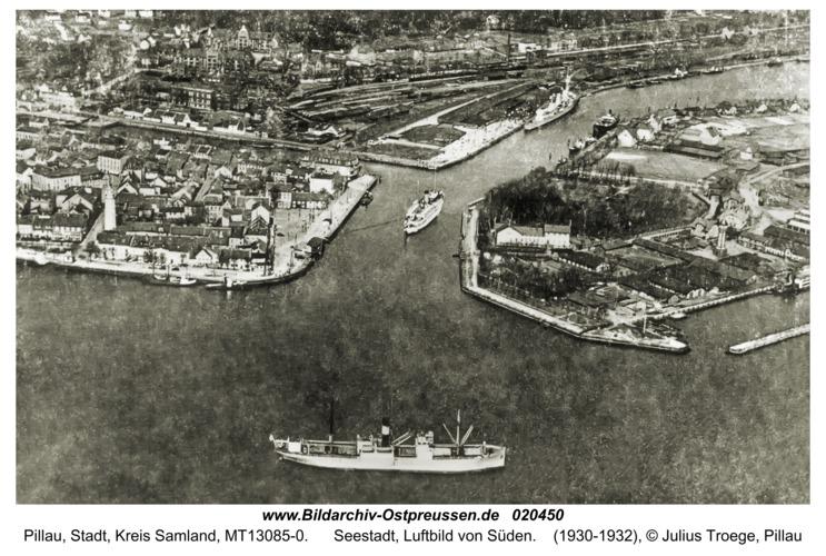 Pillau, Seestadt, Luftbild von Süden