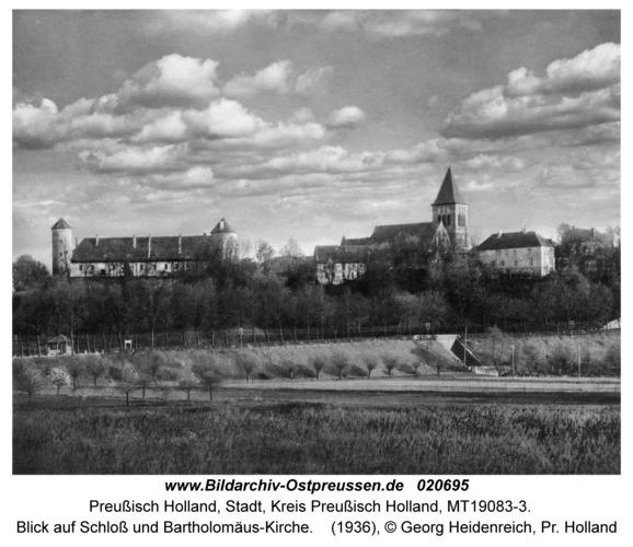 Preußisch Holland, Blick auf Schloß und Bartholomäus-Kirche
