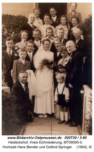 Heideckshof, Hochzeit Hans Bender und Gotlind Springer