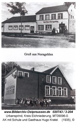 Urbansprind, AK mit Schule und Gasthaus Hugo Kratel