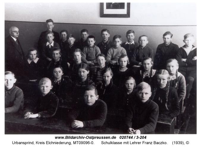 Urbansprind, Schulklasse mit Lehrer Franz Baczko