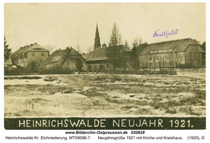 Heinrichswalde, Neujahrsgrüße 1921 mit Kirche und Kreishaus