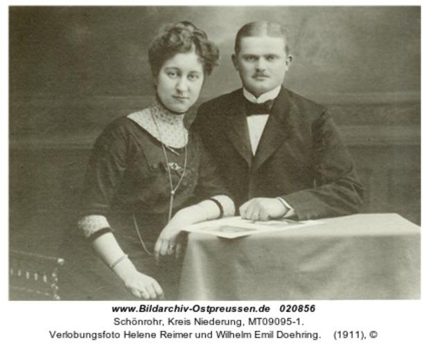Schönrohr, Verlobungsfoto Helene Reimer und Wilhelm Emil Doehring