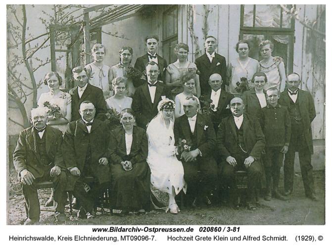 Heinrichswalde, Hochzeit Grete Klein und Alfred Schmidt