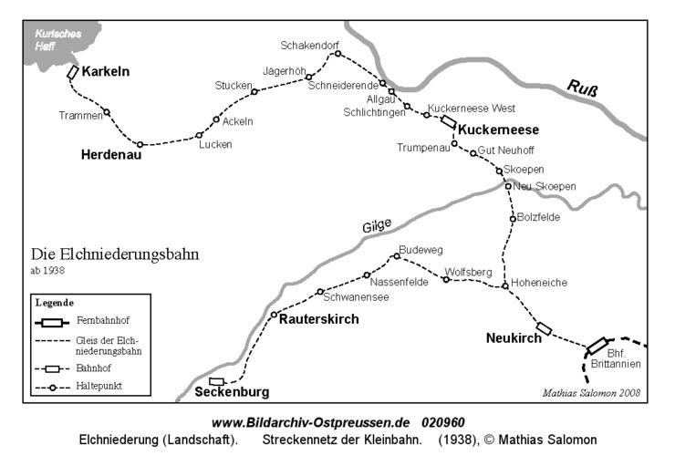 Elchniederung, Streckennetz der Kleinbahn