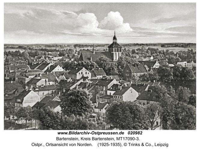 Bartenstein, Ostpr., Ortsansicht von Norden