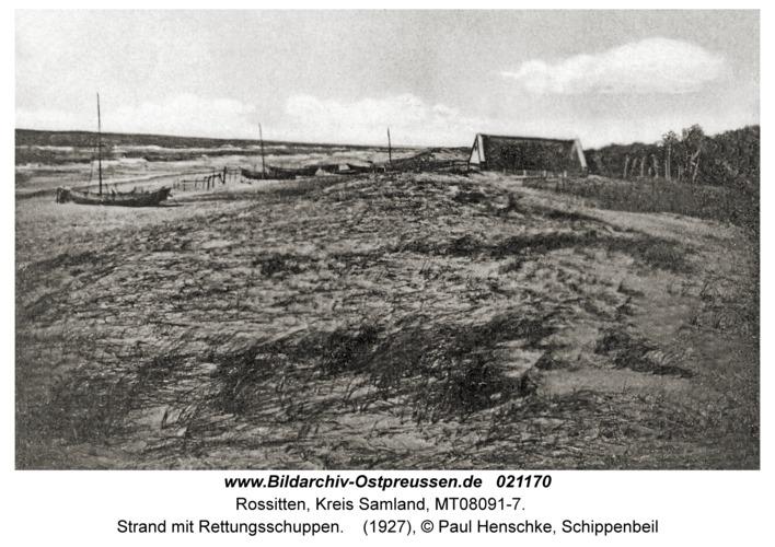 Rossitten Kr. Samland, Strand mit Rettungsschuppen