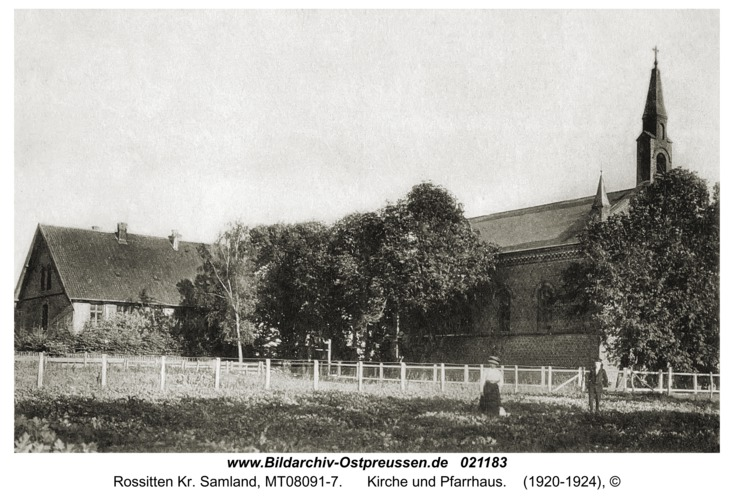 Rossitten Kr. Samland, Kirche und Pfarrhaus
