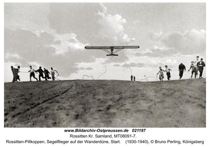 Rossitten Kr. Samland, Rossitten-Pillkoppen, Segelflieger auf der Wanderdüne, Start
