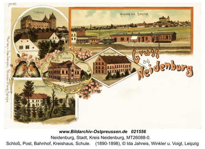 Neidenburg, Schloß, Post, Bahnhof, Kreishaus, Schule