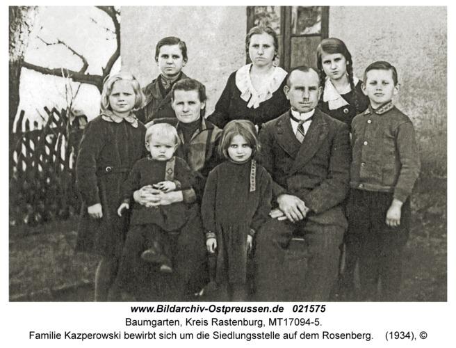 Baumgarten Kr. Rastenburg, Familie Kazperowski bewirbt sich um die Siedlungsstelle auf dem Rosenberg