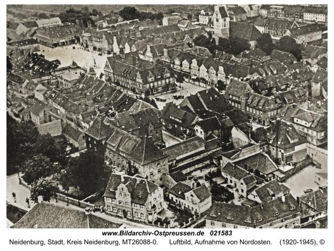 Neidenburg, Luftbild, Aufnahme von Nordosten