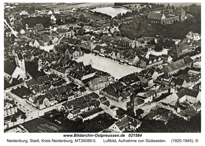 Neidenburg, Luftbild, Aufnahme von Südwesten