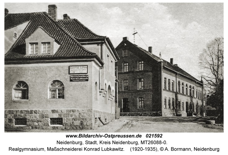 Neidenburg, Realgymnasium, Maßschneiderei Konrad Lubkawitz