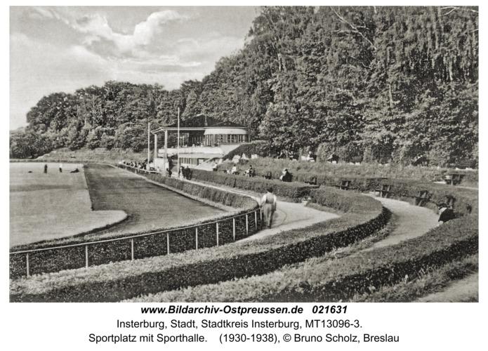 Insterburg, Sportplatz mit Sporthalle