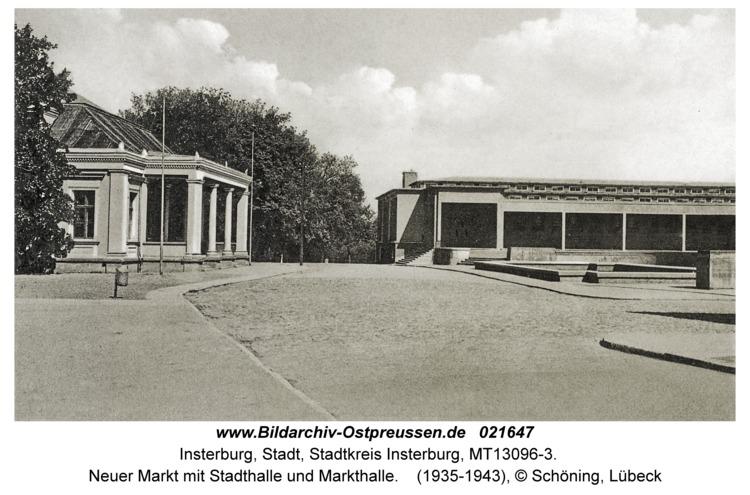 Insterburg, Neuer Markt mit Stadthalle und Markthalle