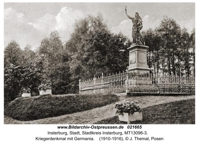 Insterburg, Kriegerdenkmal mit Germania