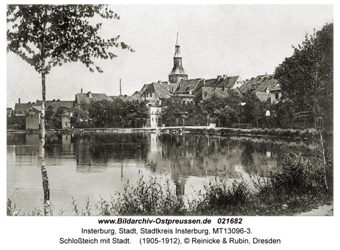 Insterburg, Schloßteich mit Stadt