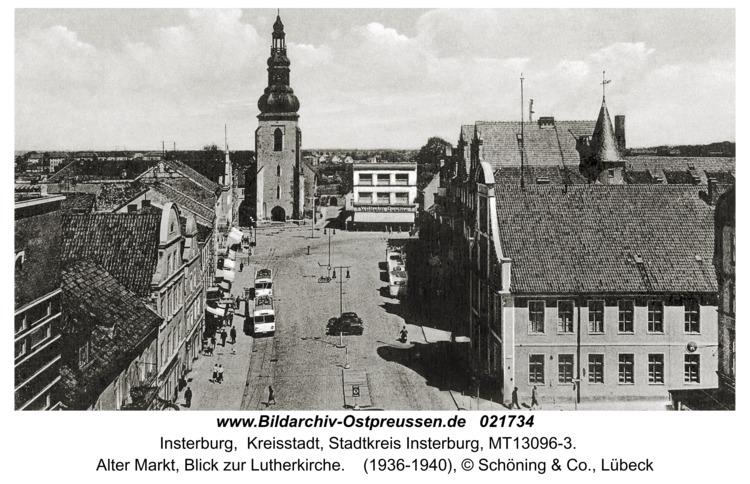 Insterburg, Alter Markt, Blick zur Lutherkirche