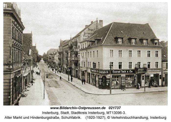 Insterburg, Alter Markt und Hindenburgstraße, Schuhfabrik