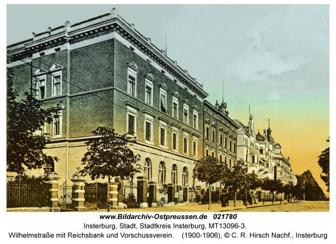 Insterburg, Wilhelmstraße mit Reichsbank und Vorschussverein