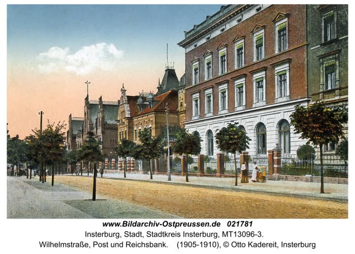 Insterburg, Wilhelmstraße, Post und Reichsbank