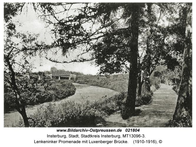 Insterburg, Lenkeninker Promenade mit Luxenberger Brücke