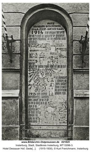 Insterburg, Hotel Dessauer Hof, Gedenknische an das deutsche und russische Hauptquartier 1914/15