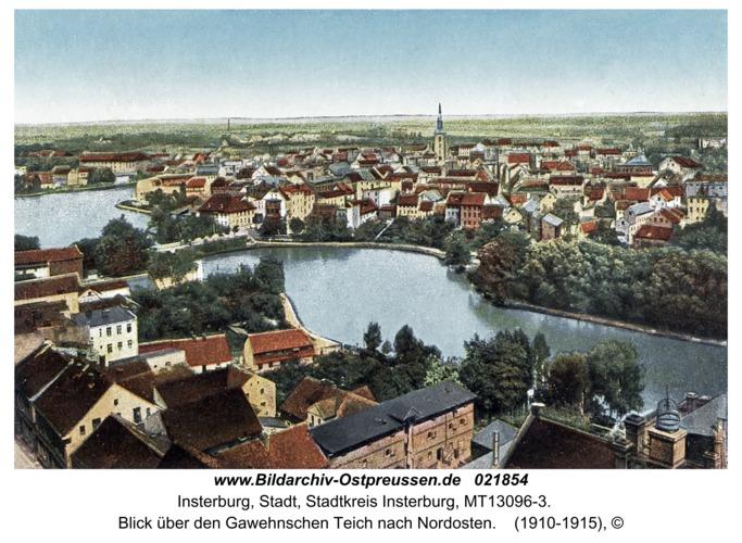 Insterburg, Blick über den Gawehnschen Teich nach Nordosten
