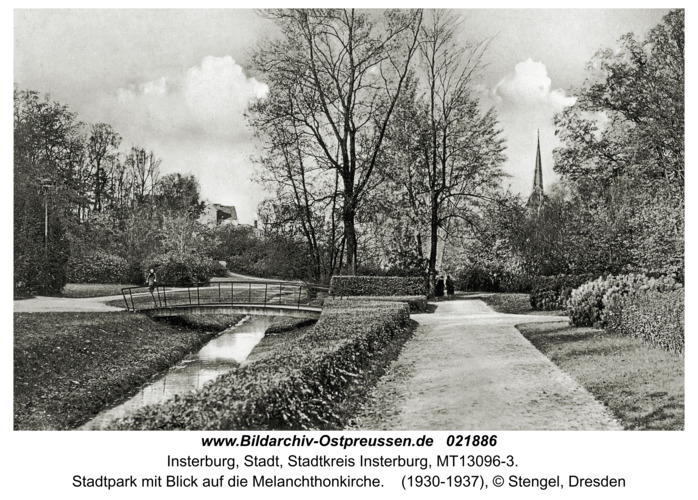 Insterburg, Stadtpark mit Blick auf die Melanchthonkirche