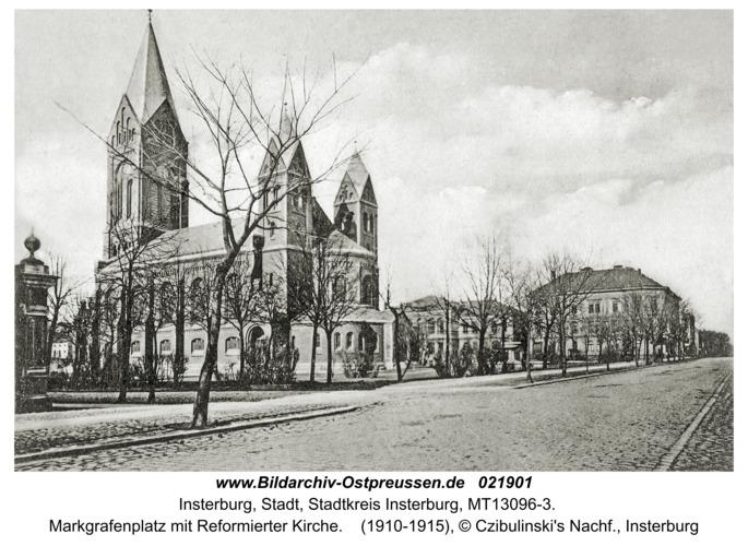 Insterburg, Markgrafenplatz mit Reformierter Kirche