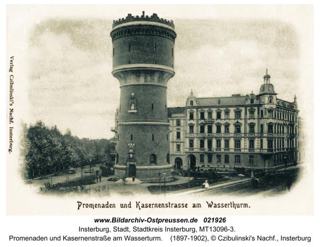 Insterburg, Promenaden und Kasernenstraße am Wasserturm