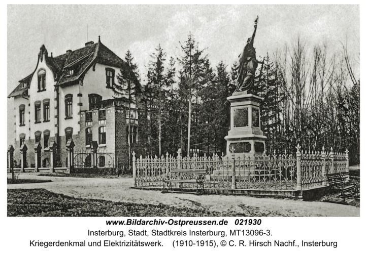 Insterburg, Kriegerdenkmal und Elektrizitätswerk