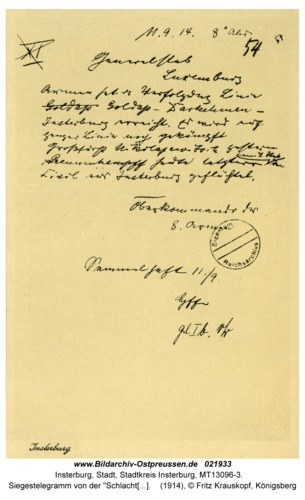 """Insterburg, Siegestelegramm von der """"Schlacht an den masurischen Seen"""""""